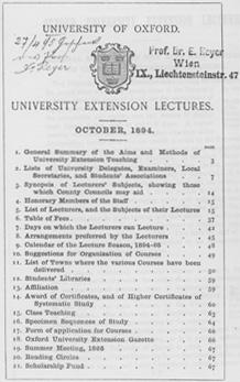 University Extension, Lectures Eduard Reyer