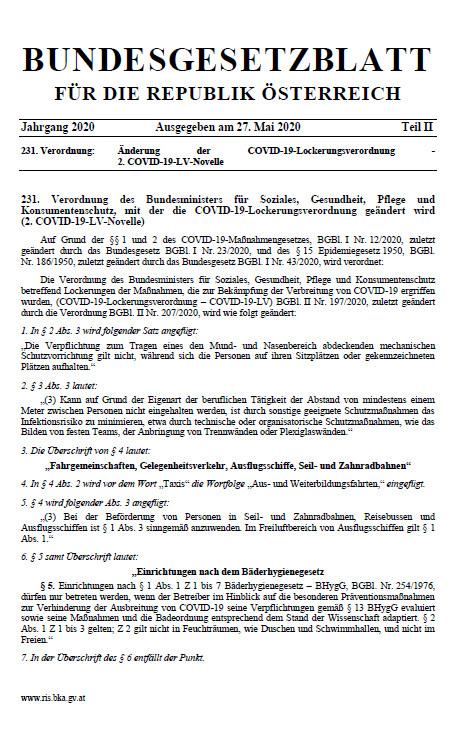 COVID-19 Lockerungsverordnung