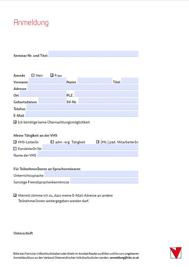 Anmeldungsformular VÖV Seminare